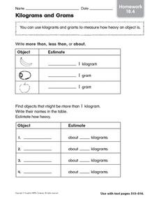 Kilogram and Grams: Homework Worksheet