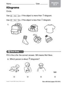 Kilograms Worksheet