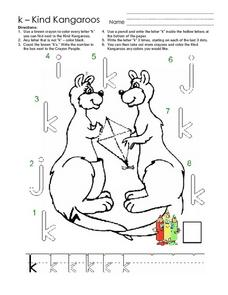 Kind Kangaroos: The Letter K Worksheet