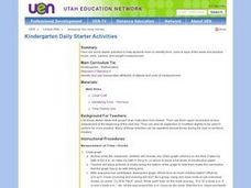 Kindergarten Daily Starter Activities Lesson Plan