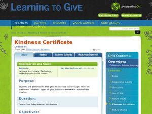 Kindness Certificate Lesson Plan