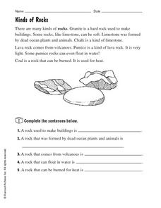 Kinds of Rocks Worksheet