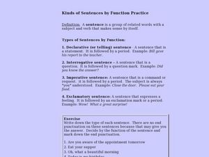 Kinds of Sentences by Function Practice Lesson Plan