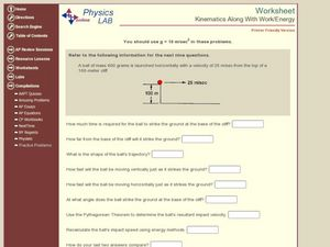 Kinematics Along with Work/Energy Worksheet