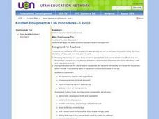 Kitchen Equip and Lab Procedures - Level I Lesson Plan
