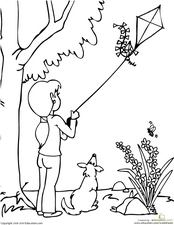 Kite Coloring Page Worksheet