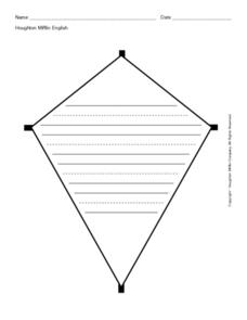 Kite Shape with Primary Lines Worksheet