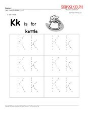 Kk Is For Kettle- Also Letters O, N, M, L Worksheet