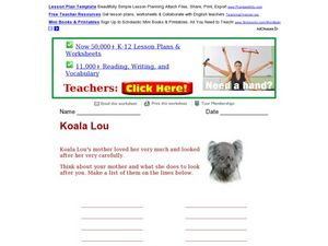 Koala Lou Worksheet