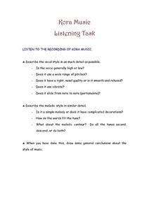 Kora Music Listening Task Worksheet