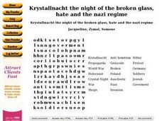 Krystallnacht the Night of the Broken Glass, Hate and the Nazi Regime Worksheet