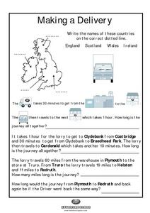 Labeling a Map of the British Isles and Elapsed Time Worksheet