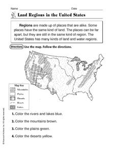 Land Regions in the United States Worksheet