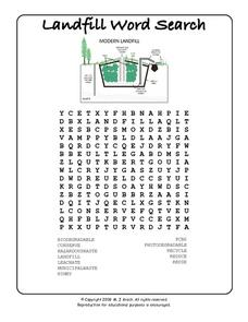 Landfill Word Search Worksheet