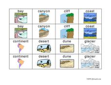 Landforms and Bodies of Water Memory Game Worksheet