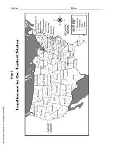 Landforms and Physical Regions in the United States Worksheet