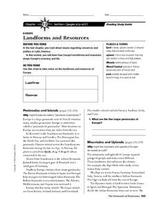 Landforms and Resources in Europe Worksheet