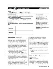 Landforms and Resources of Africa Worksheet
