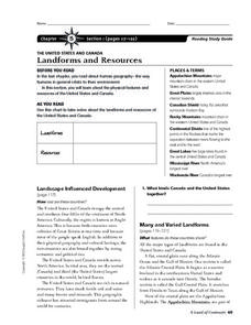 Landforms and Resources of the United States and Canada Worksheet
