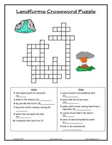 Landforms Crossword Puzzle Lesson Plan