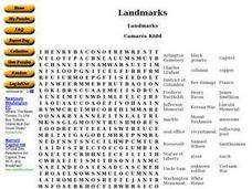 Landmarks Word Search Worksheet
