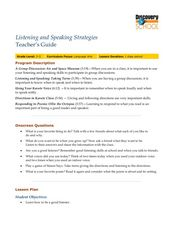 Language Arts Skills: Listening and Speaking Strategies Lesson Plan