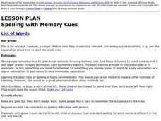 Language Arts; Spelling with Memory Cues Lesson Plan