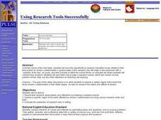 Language Arts: Using Research Tools Successfully Lesson Plan