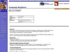 Language Registers Lesson Plan