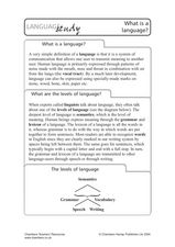 Language Study: What is a Language? Lesson Plan