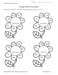 Large Daisy Numbers Worksheet
