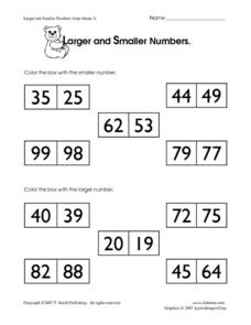 Larger and Smaller Numbers 3 Worksheet