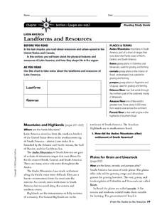 Latin America Landforms and Resources Worksheet