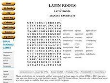 Latin Roots: Word Search Worksheet