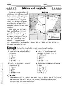 Worksheets Worksheets On Latitude And Longitude latitude and longitude nigeria 5th 6th grade worksheet lesson worksheet