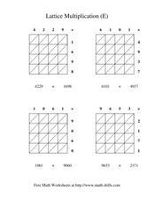 Lattice Multiplication #5 Worksheet