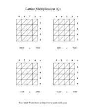 Lattice Multiplication (Q) Worksheet
