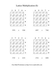 Lattice Multiplication (S) Worksheet