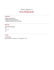 Laws of Exponents Lesson Plan