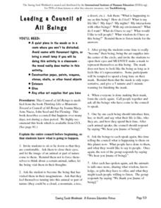 Leading a Council of All Beings Worksheet