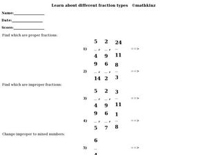 Learn About Different Fractions Worksheet