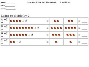 Learn to Divide by Two Worksheet