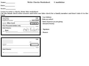 Learn to Write a Check Worksheet