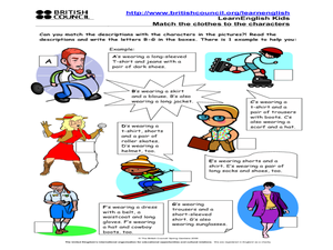 LearnEnglish Kids Match the Clothes to the Characters Worksheet