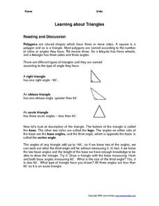 Learning About Triangles Worksheet