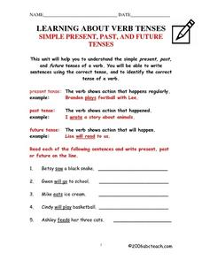 Learning About Verb Tenses Worksheet