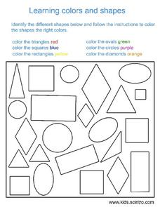 Learning Colors and Shapes Worksheet