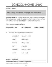 Learning Contractions Worksheet 2: School-Home Links Worksheet