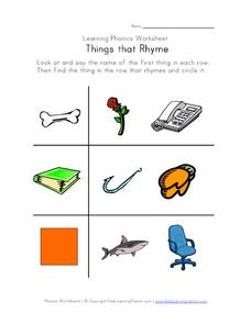 Learning Phonics Worksheet - Things That Rhyme Worksheet