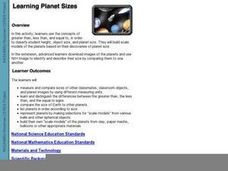 Learning Planet Sizes Lesson Plan